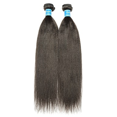 baratos Extensões de Cabelo Natural-2 pacotes Kinky Liso 10A Cabelo Virgem Cabelo Humano Ondulado 8-28 polegada Natural Tramas de cabelo humano Melhor qualidade 100% Virgem Extensões de cabelo humano Mulheres