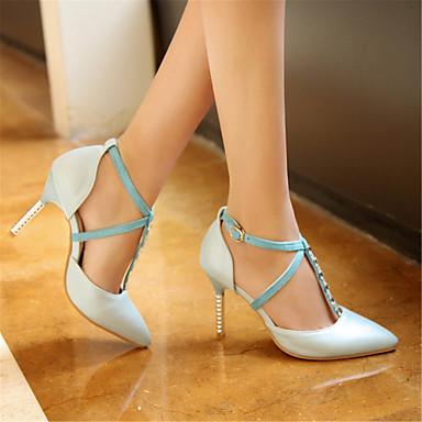 Printemps été Salomé Chaussures amp; 06811868 ouvert dragée Soirée à Rose Talons Evénement Bleu Chaussures Polyuréthane clair Bout Femme Blanc Talon clair Aiguille qnp4xEE