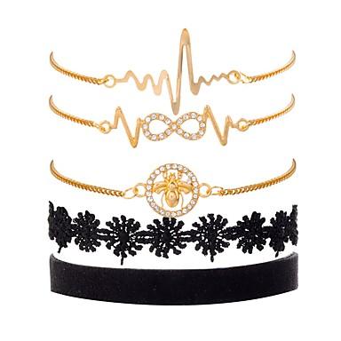 baratos Pulseira de Corrente-5pçs Mulheres Zircônia Cubica Pulseiras em Correntes e Ligações Pulseiras Vintage Multi Camadas Abelha Infinidade senhoras Vintage Fashion Elegante Renda Pulseira de jóias Dourado Para Presente