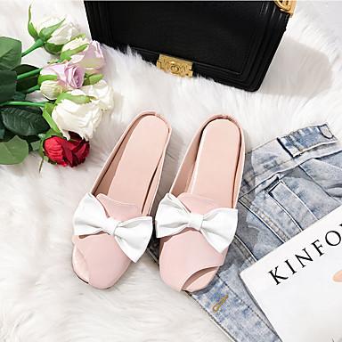 Tacón Plano Verano Sandalias Pajarita Blanco Zapatos 06792514 Confort Rojo Mujer PU Rosa RYxTngX