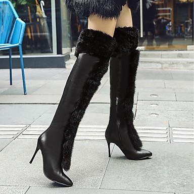 Bottes Talon 06830490 Mode Blanc hiver Bottes Automne la Polyuréthane pointu lapin de Noir Evénement Aiguille Femme Bout à amp; Chaussures Fourrure Cuissarde Soirée qwB007