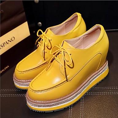 Blanc Bout Noir Creepers Femme Oxfords Jaune 06831884 Eté Chaussures Cuir fermé Printemps Nappa Confort wWSnvBCWx