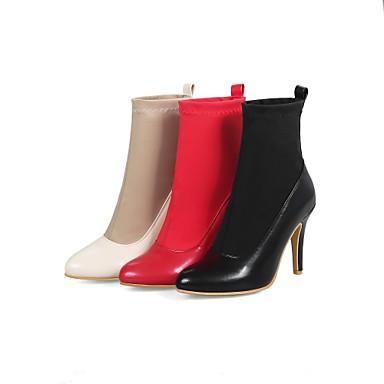 Bout Tissu Polyuréthane Bottes Amande Bottes Talon Evénement la 06836462 Noir Rouge Aiguille Chaussures Mi pointu hiver Bottes amp; Femme mollet Automne à Mode Soirée élastique Oqv5pWEw