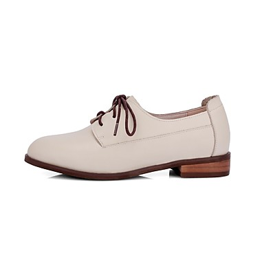 Chaussures Cuir Beige Nappa Block Femme Oxfords Confort 06825957 Printemps Heel été qgpBwBx