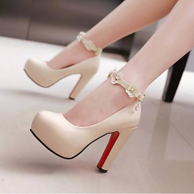 Žene Cipele PU Ljeto Udobne cipele Cipele na petu Stiletto potpetica Zatvorena Toe Crn / Bež / Pink