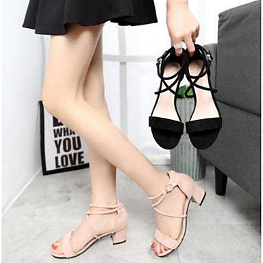 Sandalias Confort Tacón Zapatos Cuadrado Ante Mujer abierta Verano Negro Almendra Puntera 06791249 wdIxXdg