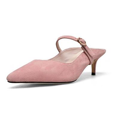 Mules Eté Confort Daim Aiguille Noir Sabot Talon amp; Printemps Femme Bleu Chaussures de 06783431 Peau mouton Rose nxxAvg