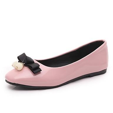 Žene Cipele PU Ljeto Udobne cipele / Balerinke Ravne cipele Ravna potpetica Crn / Crvena / Pink