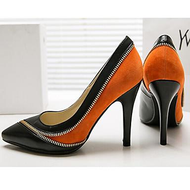 Escarpin Evénement Cuir à Talon amp; Femme Bout Chaussures Nappa Printemps pointu Basique Chaussures été Soirée 06833331 Aiguille Daim Orange Talons wEzYU