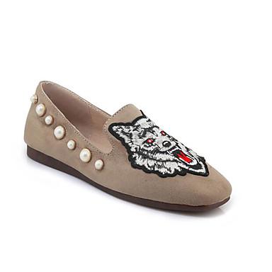 Žene Cipele PU Proljeće Udobne cipele Natikače i mokasinke Ravna potpetica Crn / Bež / Sive boje