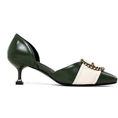 Femme Chaussures Cuir Cuir Cuir Nappa Eté Confort Chaussures à Talons Talon Aiguille Blanc / Vert be7524