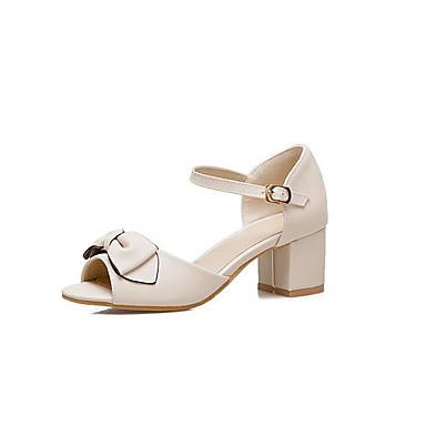 Chaussures Rose Femme Blanc Noeud Bottier Sandales Talon 06785660 Polyuréthane Eté Confort Bout ouvert Beige aqrxd7q