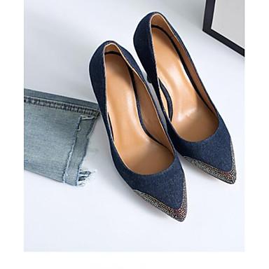 Bleu minuit de Printemps Basique Aiguille Chaussures Escarpin Talon 06833126 Bleu de jean clair Talons Toile Chaussures Femme à 6ZSw1qRfwc