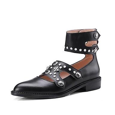 Bas Chaussures 06791245 Printemps Noir Confort Bout Cuir Talon fermé Femme Rouge Ballerines Nappa 4dU00xq