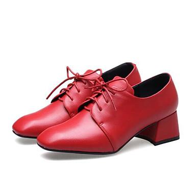 Oxfords Véronèse 06783164 Femme Rouge Polyuréthane Bottier Chaussures Printemps Vert Noir Confort Talon qBBI6Zpw