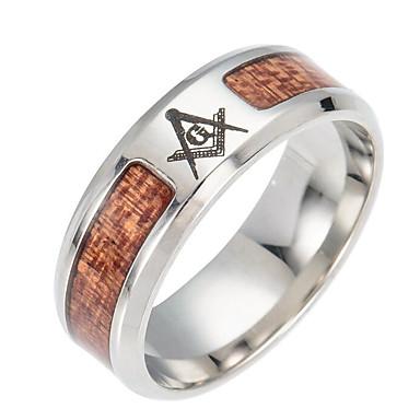 billige Motering-Herre Tykk kjede Freemason Band Ring Titanium Stål Europeisk Motering Smykker Sølv Til Daglig