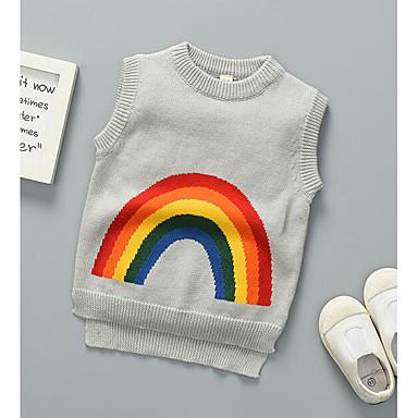 저렴한 남아 스웨터&가디건-아동 남아 베이직 일상 줄무늬 프린트 민소매 보통 스웨터 & 가디건 네이비 블루
