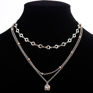 billige Mote Halskjede-Dame Kubisk Zirkonium lagdelte Hals Multi Layer damer Stilfull Klassisk Kobber Gull 32+10 cm Halskjeder Smykker 1pc Til Daglig