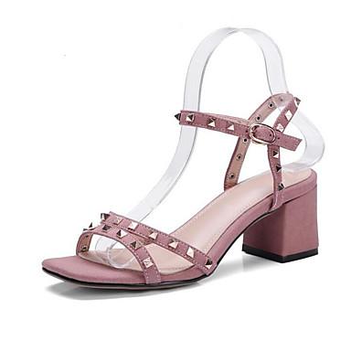Rose Femme 06855193 Microfibre Sandales Chaussures Polyuréthane Eté Noir Confort Talon Bottier wvwqrz