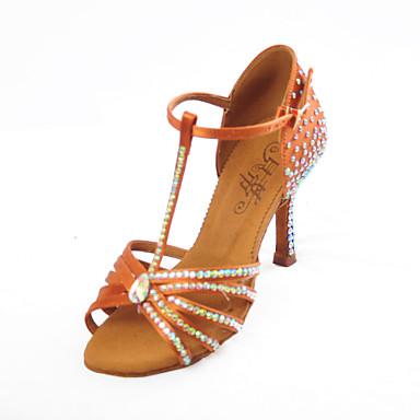 baratos Sapatos de Salsa-Mulheres Sapatos de Dança Cetim Sapatos de Dança Latina / Sapatos de Salsa Sandália Salto Carretel Marron / Espetáculo / EU39