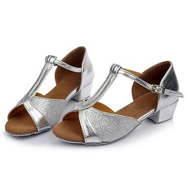 Femme Chaussures Latines Cuir Cuir Cuir Verni   / Talon Fantaisie Talon épais Personnalisables Chaussures de danse Argent 907a14