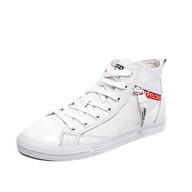 Confort Eté 06841682 Chaussures Nappa Femme fermé Bout Printemps Plat Blanc Basket Talon Noir Cuir wqXFIIZ