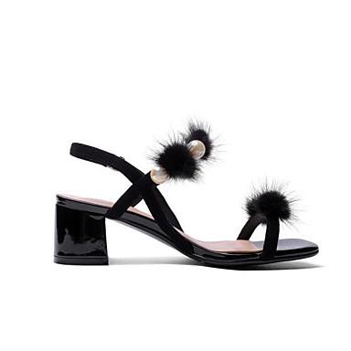 Amande Bottier Basique Confort Sandales Talon Eté mouton Chaussures de Noir 06855249 Escarpin Peau Femme wZ7v6x