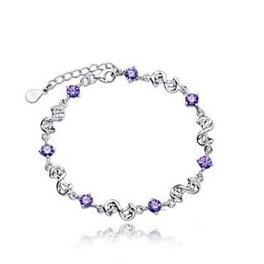 abordables Bracelet-Bracelet Femme Tendance Zircon cubique Donuts dames Elégant Classique Bracelet Bijoux Violet Irrégulier pour Quotidien