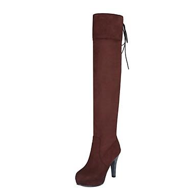 Chaussures hiver Automne Brun Bottes 06849846 Daim Foncé Talon Aiguille Rouge Noir Femme Confort S6xtdqSw