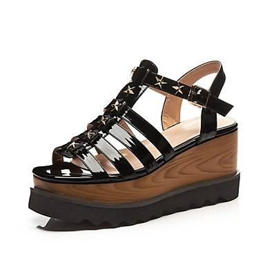 été Printemps Creepers Chaussures Sandales 06841069 Microfibre Confort Femme Rose Noir 4tqPxf