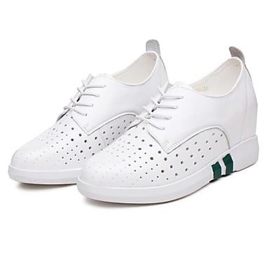 Eté Femme 06848816 Chaussures Plat Cuir Blanc Printemps Bout Basket rond Confort Talon Nappa Noir wrrIOqxB