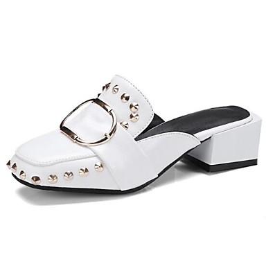 Zuecos y Punta de Negro bloque cerrada Confort 06846221 Blanco pantuflas Mujer Talón Verano PU Zapatos xaXwKvqIT