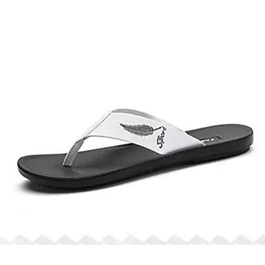 Men's Comfort Slippers Shoes PU(Polyurethane) Summer Casual Slippers Comfort & Flip-Flops White / Black 3494bf