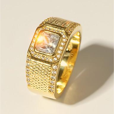 voordelige Herensieraden-Heren Ring 1pc Goud Messinki Gesimuleerde diamant 24K Gold Plated Luxe Klassiek Modieus Bruiloft Avond Feest Sieraden Klassiek Stijlvol Radiant Cut Kostbaar Cool