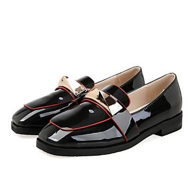 Punta Ejército taco On Slip Tacón Zapatos Negro 06850201 y de Mujer cerrada Confort Cuero Patentado Verde Primavera Verano Plano bajo Zapatos OwPP8xHq7Z