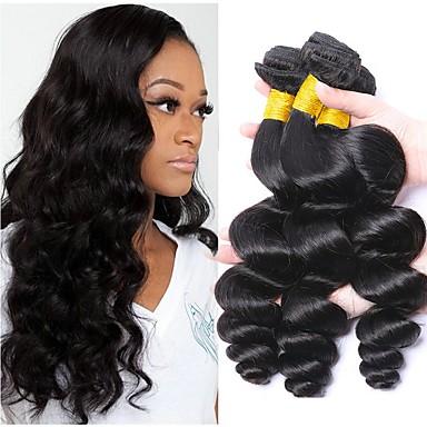levne Hair Extensions-3 svazky Peruánské vlasy Volné vlny Nezpracované lidské vlasy 100% Remy vlasy Weave svazky Lidské vlasy Vazby Prodloužení Bundle Hair 8-28 inch Černá Přírodní barva Lidské vlasy Vazby Měkký povrch