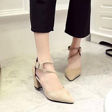 Zapatos Mujer 06863764 Dedo Otoño Puntiagudo Tacón Negro Tacones Pump PU Básico Caqui Cuadrado Urrxq7Hd