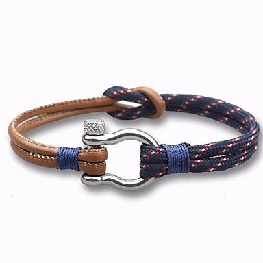 voordelige Herensieraden-Heren Lederen armbanden loom Bracelet Stijlvol Touw gevlochten Creatief Stijlvol Vintage Europees Paracord Armband sieraden Wit / Donkerblauw Voor Dagelijks Afspraakje / Roestvrij staal