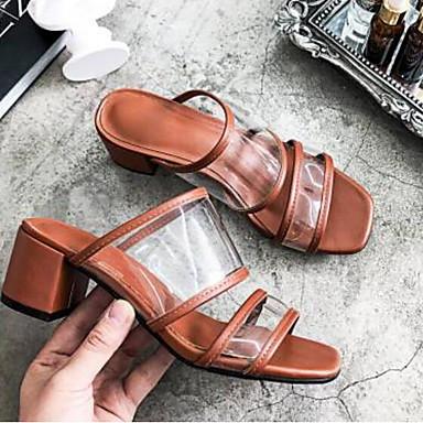 Eté Femme Blanc Talon 06843243 Sandales Basique Chaussures Nappa Cuir Marron Printemps ouvert Confort Bout Bottier Escarpin FqIf1qwr