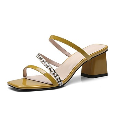 Cuir Jaune Rouge 06858439 Nappa Bottier Chaussures Talon Noir Confort Printemps été Sandales Femme 1UB5wqv