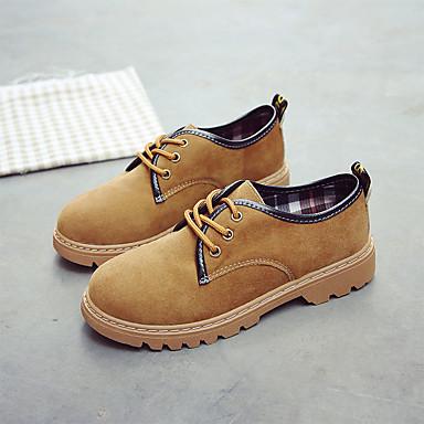 06857272 Dedo Amarillo Mujer Tacón Negro Cuadrado Otoño Oxfords redondo PU Zapatos Confort r00wPBq