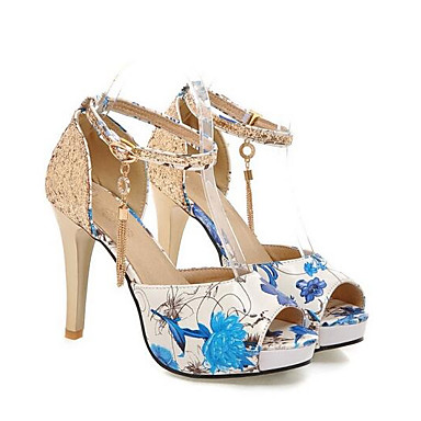 voordelige Damessandalen-Dames Sandalen Comfort schoenen Naaldhak PU Lente Rood / Groen / Blauw