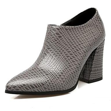 Dedo Marrón 06849833 PU Gris Botas Primavera Confort Puntiagudo Cuadrado Mujer Tacón Zapatos Negro PwqCC0