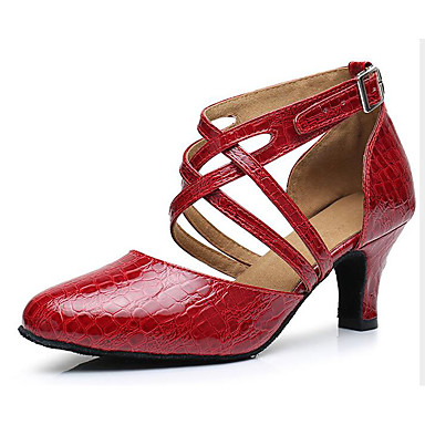 baratos Shall We® Sapatos de Dança-Mulheres Couro Envernizado Sapatos de Dança Moderna Salto Salto Alto Magro Dourado / Preto / Vermelho / Espetáculo / Ensaio / Prática