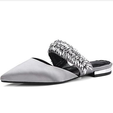 Gris Sabot Mules Printemps Femme Satin Plat Talon Chaussures amp; Bout Amande 06848544 Noir fermé Confort Eté xqOR4X0q