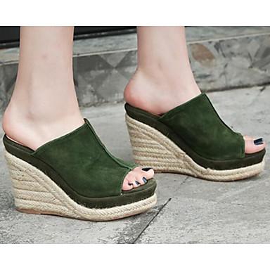 de semelle Vert Hauteur Basique Chaussures Amande 06846175 mouton Escarpin compensée Sandales de Eté Femme Confort Peau SEqwaFxP