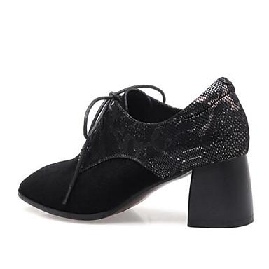 Chaussures Eté Femme 06863524 Daim mouton Bout de Bottier fermé Confort Talon Noir Oxfords Peau Printemps FZYpAZ