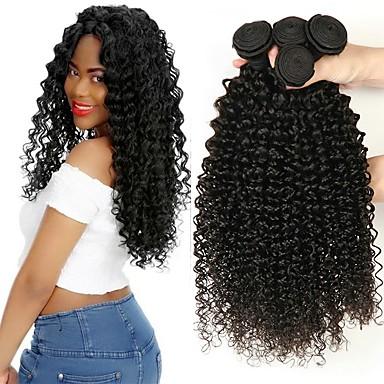 3 Bundles Indian Hair Kinky Curly 8A Human Hair Unprocessed Human Hair  Natural Color Hair Weaves   Hair Bulk Extension Bundle Hair 8-28 inch Black  Natural ... 37d5a391b1a5