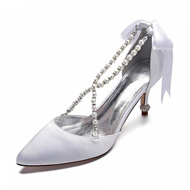b741e844b016 Women s Pumps Satin Spring   Summer Sweet Wedding Shoes Stiletto Heel  Pointed Toe Bowknot   Imitation Pearl   Satin Flower Blue   Champagne    Ivory   Party ...