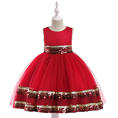 رخيصةأون ملابس الأميرات-فستان بدون كم سادة فتيات أطفال